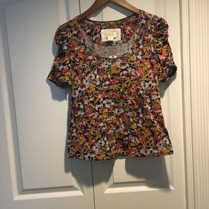 New Anthropologie Sarlee Sheer Ruched Top size XS